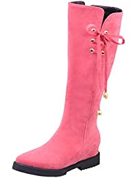 BIGTREE Knie Hohe Stiefel Damen PU Leder Casual Reißverschluss Blockabsatz Herbst Winter High Heel Reitstiefel Schwarz 40 EU