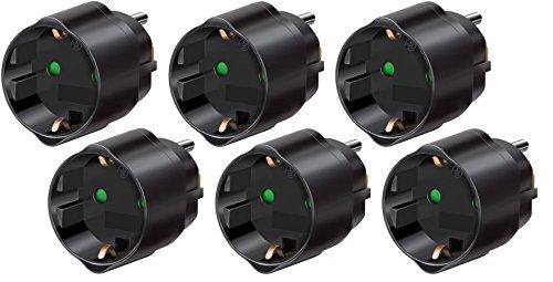 6er Pack Brennenstuhl Reisestecker/-adapter Schutzkontakt für USA, Japan schwarz, 1508550 (6, Adapter USA)