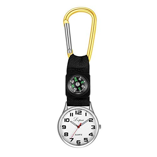 Dilwe Sportuhr, Lässige Multifunktions Kompassuhr mit Einem Karabinerhaken an der Taschenlaufuhr für Camping(Gelb) -