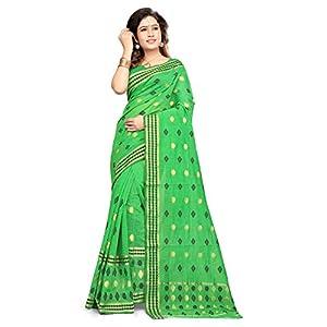 S. Kiran's Women's Assamese Weaving Parrot Green Chanderi Mekhela Chador – Mekhla Sador – Dn 1834