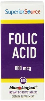 Superior Source Folic Acid (800mcg, 100 Microlingual Tablets) by Superior Source