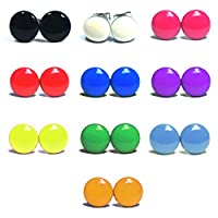LilMents 10 Pairs Plain Colored Unisex Mens Womens Stainless Steel Stud Earrings (10MM)