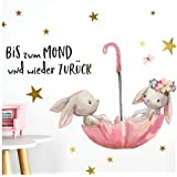 Little Deco DL160 Wall Sticker Baby Room Rabbit and Quote Up to the Moon I A4 21 x 29.7 cm I Umbrella Children's Pictures Decorative Nursery Girls Sticker