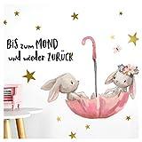 Little Deco Wandtattoo Babyzimmer Hasen & Spruch Bis zum Mond I A4-21 x 29,7 cm I Regenschirm Kinderbilder Deko Kinderzimmer Mädchen Aufkleber Sticker DL160