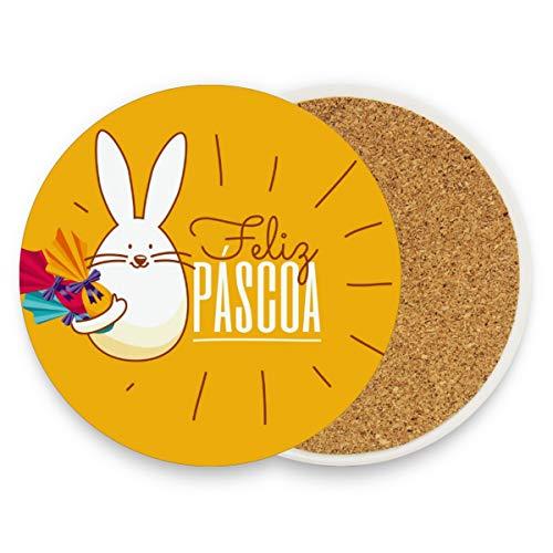 Untersetzer aus Keramik, Motiv: süßer Kaninchen mit Bonbons aus Keramik, rund, saugfähig, für Zuhause, Büro, Bar, Küche (1 Stück), keramik, multi, 1 Stück