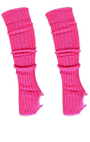 krautwear® Damen Mädchen 2x Ballettstulpen mit Fersenloch Beinwärmer Ballett Stulpen Legwarmer Armstulpen ca. 55 cm 80er Jahre 1980er Jahre schwarz weiss Neon Pink Grün Gelb Orange (2x pink)
