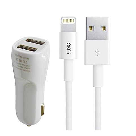 [Apple MFi zertfiziert] Apple Lightning zu USB Kabel 8 Pin, 0,5 Meter + Dual USB KFZ Adapter Schnelllader Schnellladegerät Car Charger Autoladegerät (5V/2.A & 5V/1A) passend für iPhone mit Lightninganschluß von OKCS [neue