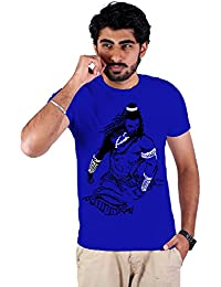 Enquotism Royal Blue Combed Cotton Fabric Round Neck Men Tshirt Shiva Royal Blue