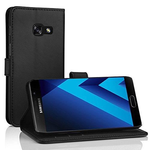 Samsung Galaxy A5 2017 Leder Hülle, Simpeak Flip Wallet Cover Case mit Standfunktion Kartenfächer für Galaxy A5 2017 (Schwarz) (Video-kamera-tasche Wasserdichte)