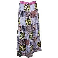 Women's Long Skirt Violet Patchwork Handmade Boho Chic Maxi Skirts S/M