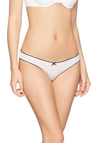 Iris & Lilly Damen Bikini Slip aus Baumwolle im 3er-Pack, Mehrfarbig (Black Stripe/Scarlet Sage/Scarlet Sage Dot), X-Small (Bikini Black Dot)
