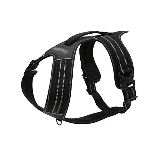 Jitong Hundegeschirr Sicherheit Nylon Gepolstertes Weich Brustgurt Brustgeschirr für Hunde Haustier (Schwarz, 90-125 CM)