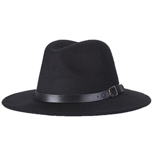 Leisial™ Unisex Herbst und Winter Filz Trilby/Fedora/Panama Kappe/Mützen Hut Schwarz 57CM (Fedora-hüte Für Frauen Groß)