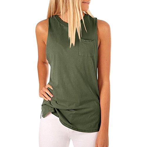 ESAILQ Damen Modisch Damen Shirt Kurzarm Revers Schlank Hemd Arbeit V-Ausschnitt mit Knöpfe(S,Grün)
