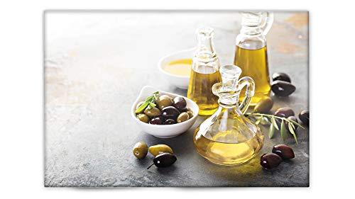 Glasvision | Küchenrückwand aus Glas | Spritzschutz | Memoboard | Herdabdeckplatte (60 x 40 cm, Fine Olive)