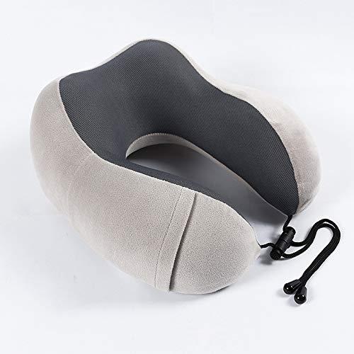 YHL Aufblasbares Kissen, Rebound U-förmiges Kissen Reisenackenkissen Multifunktions-PP-Baumwollkappe (28 * 15 * 11 cm),Gray - Verdickung Verlassen
