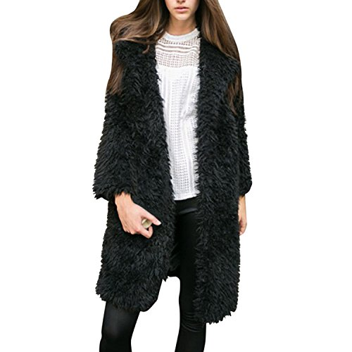 LAEMILIA Damen Mantel Winter Elegant Warm Faux Fur Kunstfell Cardigan Trenchcoat in Felloptik Jacke Lang Mantel Coat Wintermantel Outwear (Pelz Mantel Faux Jacke)