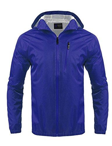 Regenjacke Herren Windbreaker Zipper Übergangsjacke Wasserdicht Atmungsaktiv Outdoor jacke Kapuzenjacke Funktionsjacke blau S 36 -