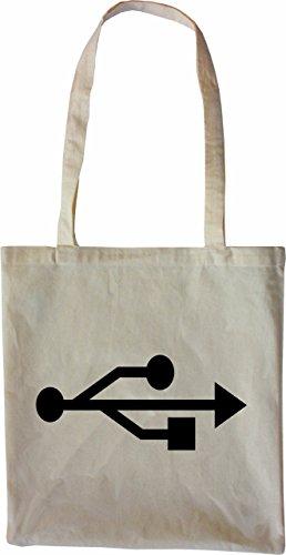 Mister Merchandise Tote Bag USB Nerd Borsa Bagaglio , Colore: Nero Naturale