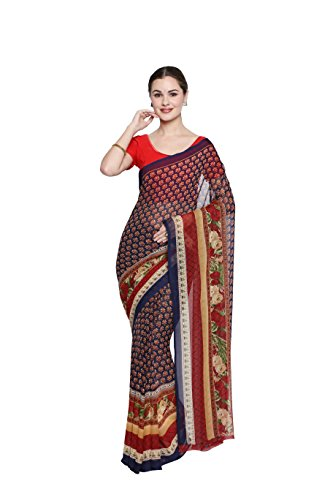 Oomph! Women's Chiffon Sarees Party Wear/Fancy Chiffon Sarees/Printed Chiffon Sarees - Sangria...