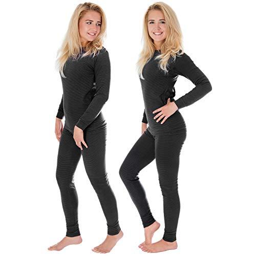 Damen Thermounterwäsche   langarm Unterhemd + lange Unterhose   2-er Set Thermo Unterwäsche mit Ringelmuster - Anthrazit - 36/38