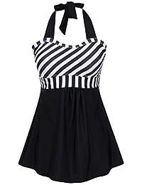 FeelinGirl Vestido de Traje de Baño Una Pieza Talla Grande con Pantalones Seguros para Mujer