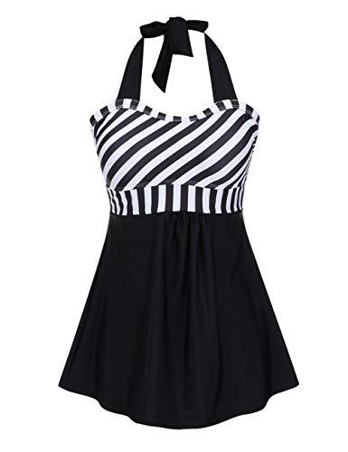 3f7544618 FeelinGirl Vestido de Traje de Baño Una Pieza Talla Grande con Pantalones  Seguros para Mujer (L(ES 42-44)