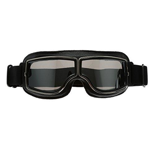 Schwarz Rahmen Retro Motorrad Helm Brillen Schutzbrillen UV Schutz für Sport Outdoor Skifahren Snowboard - Silber Glas