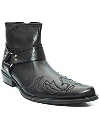 Pour Garçons Noir brodé Western Cowboy Cheville Harnais Bottes Taille UK 6–12