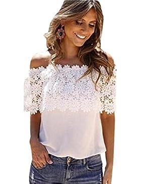 OverDose Las mujeres atractivas sin hombro remata la blusa del cordón del ganchillo de la gasa de la camisa