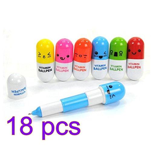 miig_du Creative Schreibwaren Pille versenkbaren Stift 18 nur 6 Farben (Ausdrücke in Englisch) 18pcs