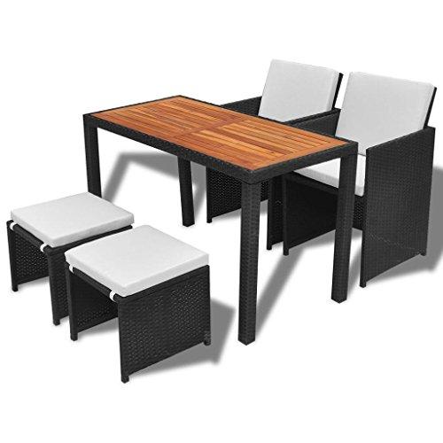 binzhoueushopping Mobilier de Jardin 11 pcs Design élégant et Moderne Noir Dimensions de la Table 123 x 60 x 74 cm (L x l x H) en Bois d'acacia mobilier Exterieur Résine tressée