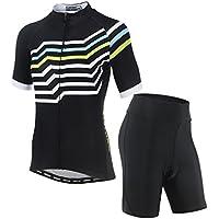 Juego de ropa de ciclismo para mujer de AiQi, camiseta de mangas cortas y pantalones cortos acolchados 3D , mujer, color Maze, tamaño Small