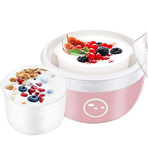 JUZEN Elektrische Joghurtherstellungsmaschine Automatische Präzisions-Temperaturregelung Küche DIY Tools Griechischen Stil Joghurtherstellungsmaschine, Rosa, 1L -