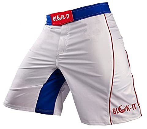 Fight Shorts by Blok-iT – These Boxing and MMA Shorts are Competition Grade, Yet Flexible and Comfortable for Everyday Training – Great for all Martial Arts, Surfing, and Skateboarding (White & Blue,