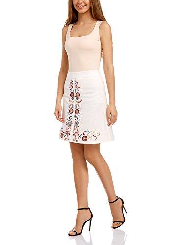 oodji Ultra Damen Leinenrock mit Stickerei Weiß (1245P)