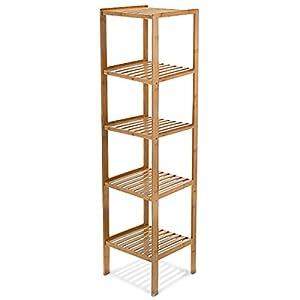 Relaxdays Badregal Bambus HBT: 140 x 34 x 34 cm Schickes Bambusregal mit 5 Ablagen aus natürlichem Holz Standregal als Küchenregal oder Holzregal zur Aufbewahrung und Lagerung im Badezimmer, natur