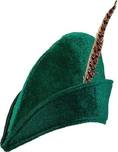 Erwachsene Herren Damen-Grün Bogenschütze Robin Hood Vigilante Waldmänner mit Feder Welttag des Buches-Tage-Woche Kostüm Kleid Outfit Zubehör Hut