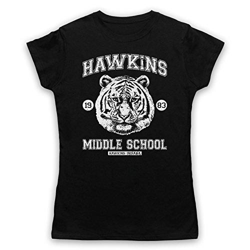 Inspiriert durch Stranger Things Hawkins Middle School 1983 Inoffiziell Damen T-Shirt Schwarz