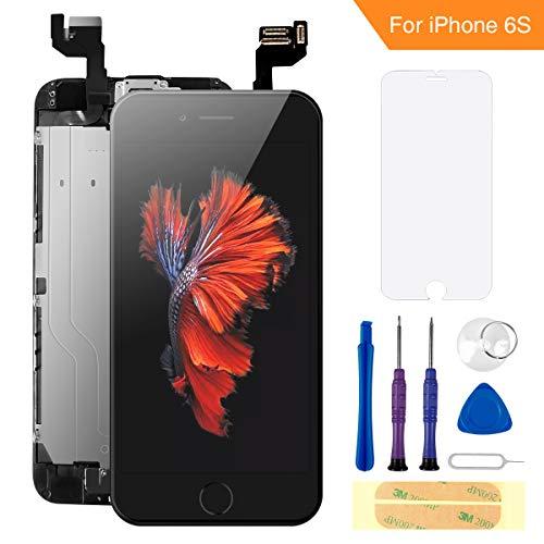 FLYLINKTECH Für iPhone 6s Display Schwarz, Ersatz Für LCD Touchscreen Digitizer vormontiert mit Home Button, Hörmuschel, Frontkamera Reparaturset Komplett Ersatz Bildschirm mit Werkzeuge - Das Iphone-display Schwarz