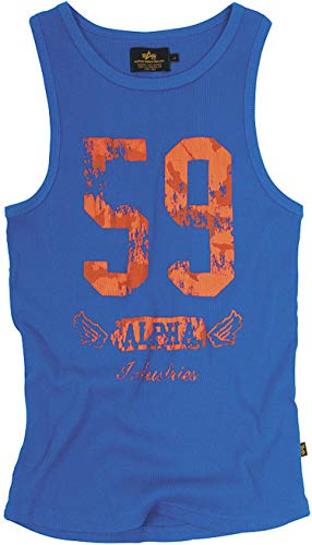 Original Alpha Industries Big 59 Tank Shirt blau - USA - High Quality Print - PRIME Versand, Farbe:Blau;Größe:L -