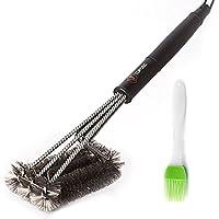 topqsc 100% acciaio pulizia griglia barbecue brushes-professional esterni pulizia brush-3-sided 17,7pollici Lungo–Ideale per uso commerciale, Outdoor e campeggio