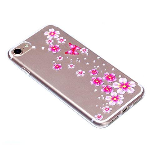 3 Pack Schutzhülle für iPhone 7, Rosa Schleife Ultra Dünn Soft TPU Silikon Hülle Backcover Case für iPhone 7 Transparent Handyhülle Bunte Muster Cover 3 Stück - Rot Mandala Rosa Blume
