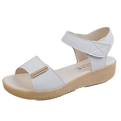 Longra Donne tre Colori sandali Bianca