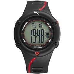 Puma Time Cardiac 01 PU911361002 - Montre Quartz - Affichage Digital - Bracelet Plastique Noir et Cadran Gris - Homme
