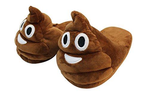 Pantofole Emoji Htuk®, Felpate, Foderate, Con Smiley, Per Signore E Signori, Taglia Unica, Cacca Soffice