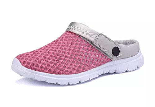Yooeen Unisex Hausschuhe Clogs Atmungsaktiv Mesh Pantoletten Slip-on Rutschfest Walking Sandalen Bequem Flache Sommer Schuhe für Herren Damen
