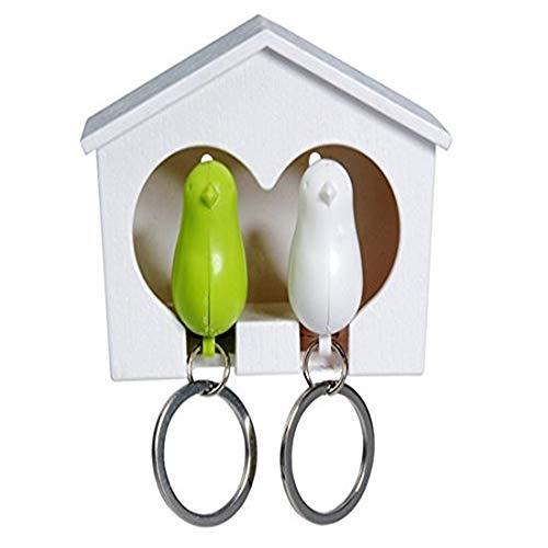 Charm Auto Schlüsselanhänger Paar-Paar-Vogel-Pfeife-Spatzen-Pfeifen-Schlüsselring-Schlüsselketten-Satz mit Haus