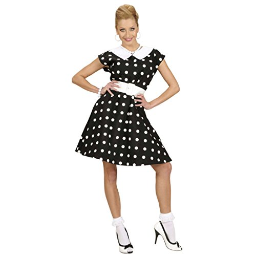NET TOYS 50er Jahre Petticoat Kleid Rockabilly Damenkostüm schwarz-Weiss gepunktet L 42/44 Rockabella Kostüm Damen 50er Mode Kleider Pin Up Faschingskostüm Rock n Roll Outfit