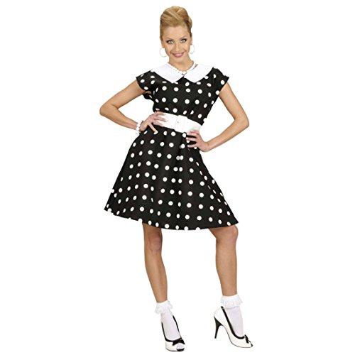 NET TOYS 50er Jahre Petticoat Kleid Rockabilly Damenkostüm schwarz-Weiss gepunktet L 42/44 Rockabella Kostüm Damen 50er Mode Kleider Pin Up Faschingskostüm Rock n Roll (Pin Up Outfit)